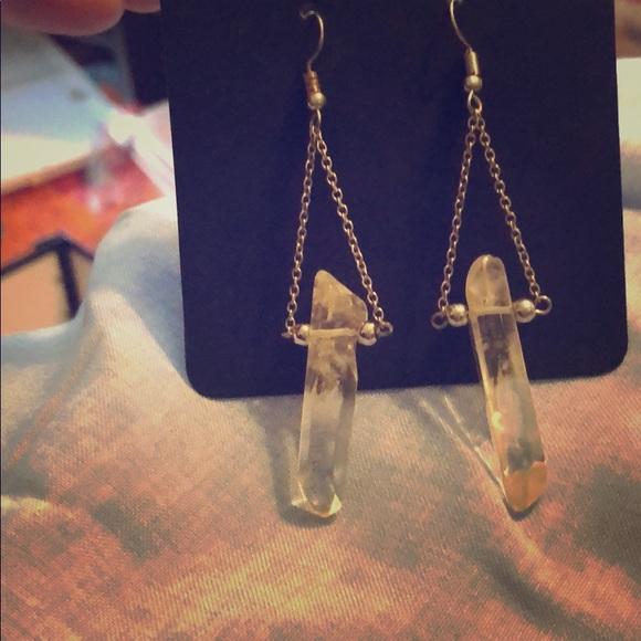 Crystal Quartz Dangle Silver Earrings